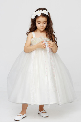 A-Line/Princess Tulle Tea Length Kids Flower Girl Dress