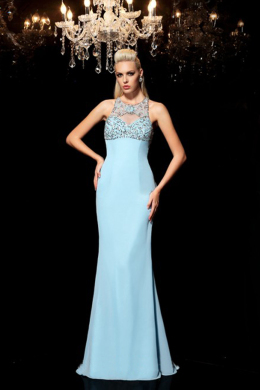 Sheath/Column Chiffon Sweep Train Formal Evening Dress