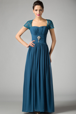 A-Line/Princess Square Neckline Floor Length Chiffon Mother of the Bride Dress with Lace