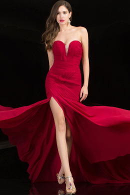 Sheath/Column Strapless Floor Length Jersey Evening Dress with Front Slit