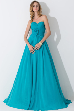 A-Line/Princess Strapless Floor-Length Chiffon Birdesmaid Dress with Pleats