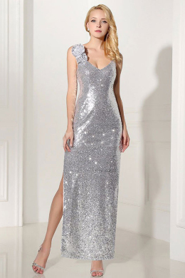 Sheath/Column Sequined Floor Length Beaded Bridesmaid Gowns