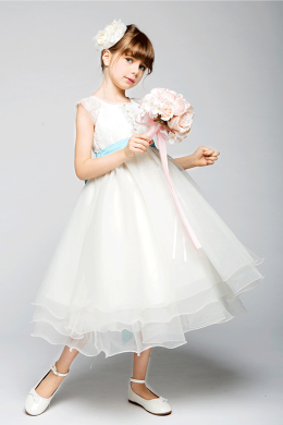 A-Line/Princess Organza Tea Length Simple Flower Girl Dress