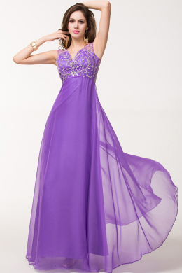A-Line/Princess V-neck Floor Length Chiffon Prom Dress with Sequins