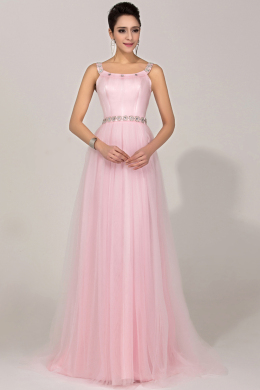 A-Line Scoop Neck Floor Length Chiffon Prom Dress Beadings