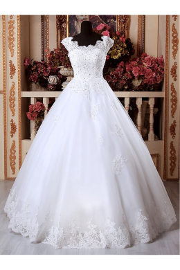 Ball Gown Tulle Floor-Length Elegant Cheap Wedding Dresses