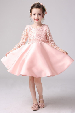 A-Line/Princess Satin Knee Length Childrens Flower Girl Dress