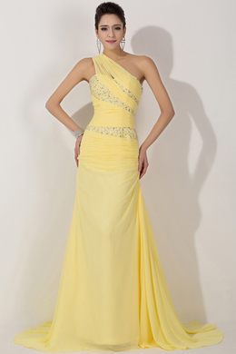 Sheath/Column One-Shoulder Floor Length Chiffon Prom Dress with Beads