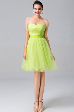 A-Line/Princess Strapless Mini-Length Tulle Cocktail Dress with Ruffles