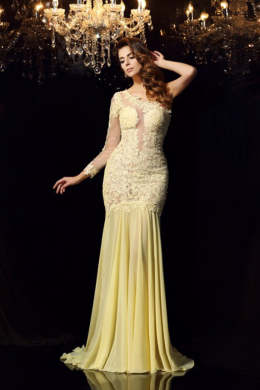 Sheath/Column Chiffon Sweep Train Special Occasion Evening Gowns