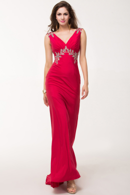 Sheath/Column V-neck Floor Length Elastic Satin Evening Dress with Beads