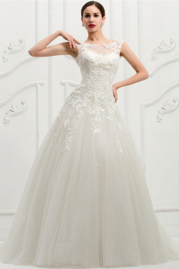 Ball Gown Sweetheart Floor Length Organza Wedding Dress with Appliques