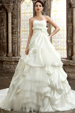 Ball Gown Strapless Cathedral Train Luxury Wedding Dress with Ruffles
