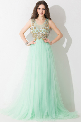 A-Line/Princess Scoop Neck Floor Length Chiffon Prom Dress with Beads