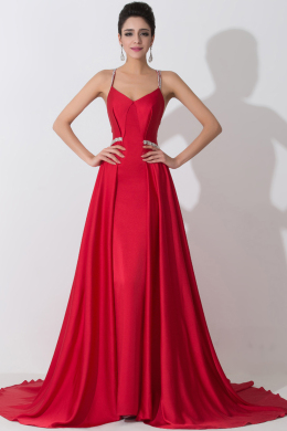 A-Line/Princess Spaghetti Straps Sweep train Elastic Satin Evening Dress with Beads