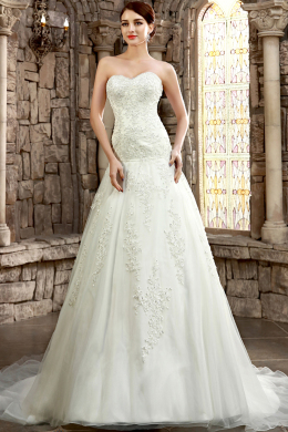 A-Line/Princess Strapless Chapel Train Tulle Wedding Dress with Appliques