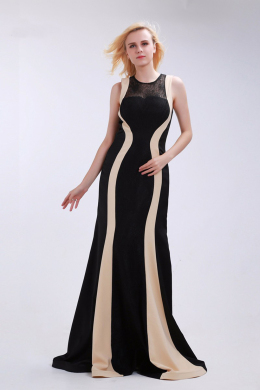 Sheath/Column Elastic Satin Floor-Length Mother of the Bride Dresses Black
