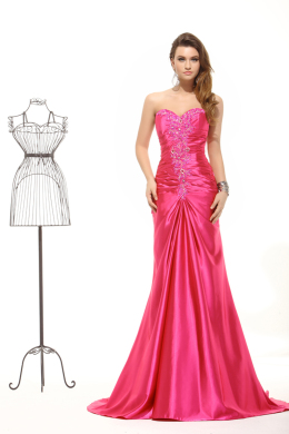 Sheath/Column Sweetheart Neckline Sweep Train Elastic Satin Evening Dresses with Beads
