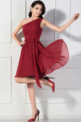 A-Line/Princess One-Shoulder Knee Length Chiffon Bridesmaid Dress with Pleats