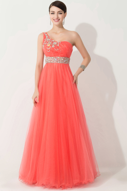 A-Line/Princess One-Shoulder Floor Length Tulle Prom Dress with Tulle