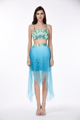 A-Line/Princess Square Neckline Ankle Length Chiffon Cocktail Dress with Print