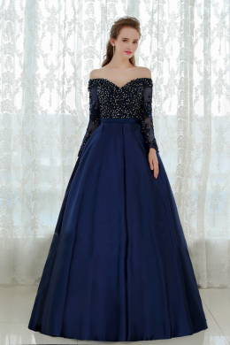 Ball Gown Sweetheat Neckline Floor-Length Satin Evening Dress with Beads