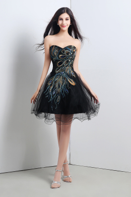 A-Line/Princess Tulle Short/Mini Formal Little Black Dress