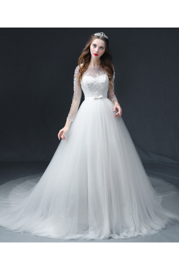 A-Line/Princess Tulle Court Train Wedding Gowns Wedding Dresses