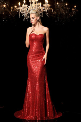 Sheath/Column Sequined Floor Length Dress for Wedding Party