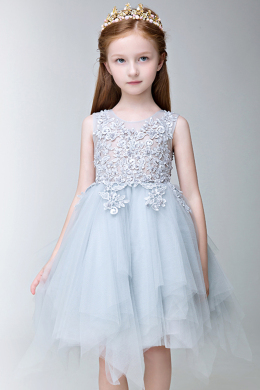 A-Line/Princess Tulle Knee Length Beige Flower Girl Dresses