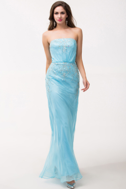 Column Strapless Floor Length Chiffon Evening Dress with Sequins