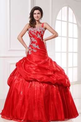Ball Gown One-Shoulder Floor Length Organza Quinceanera Dresses with Applique