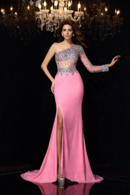 Sheath/Column Elastic Satin Floor-Length Special Occasion Evening Gowns