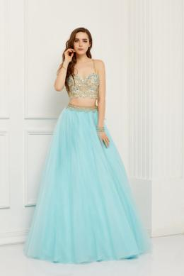 A-Line/Princess Sweetheart Neckline Floor-Length Tulle Prom Dress with Beaded