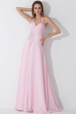 A-Line/Princess Halter Floor Length Chiffon Birdesmaid Dress with Beads