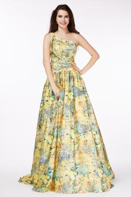 A-Line/Princess One-Shoulder Floor Length Chiffon Prom Dress with Print