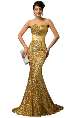 Sheath/Column Sequined Floor Length Formal Ladies Dresses