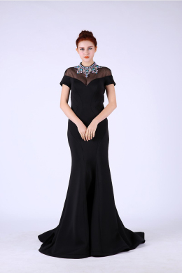 Sheath/Column Jewel Neck Floor Length Satin Evening Dress with Beadings