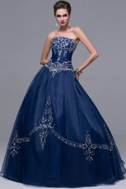 Ball Gown Strapless Floor Length Organza Quinceanera Dress with  Embroidery