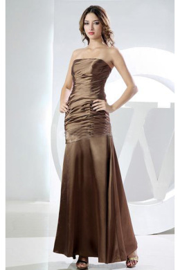 Sheath/Column Strapless Floor Length Elastic Satin Mother of the Bride Dresses with Pleats
