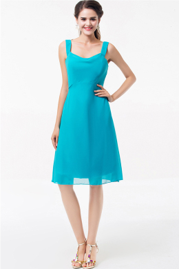 A-Line/Princess Square Neckline Knee Length Chiffon Cocktail Dress with Pleats