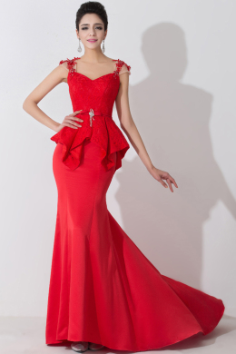 Sheath/Column Sweetheart Neckline Floor Length Satin Evening Dress with Ruffles