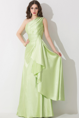 A-Line/Princess One-Shoulder Floor Length Elastic Satin Prom Dress with Pleats