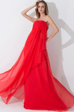 A-Line/Princess Strapless Floor-Length Chiffon Prom Dress with Ruffles