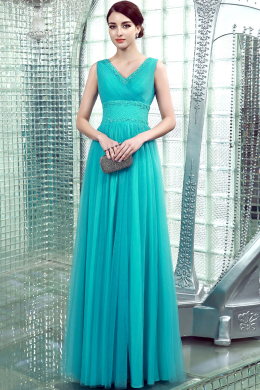 A-Line/Princess V-Neck Floor Length Tulle Prom Dress with Pleats