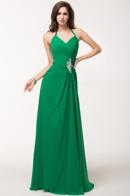 A-Line Halter Floor Length Chiffon Prom Dress with Beadings