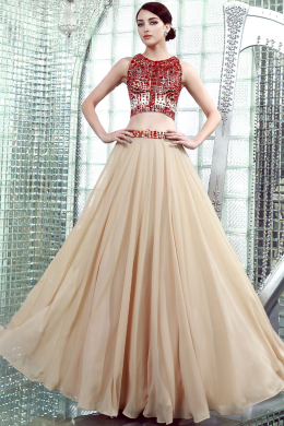 A-Line/Princess Jewel Neck Floor Length Chiffon Prom Dresses with Diamond