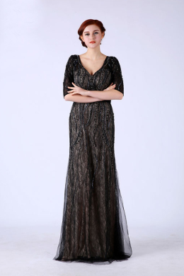 A-Line/Princess V-Neck Floor-Length Lace Mother of the Bride Dress with Beading