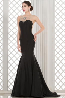 Sheath/Column Sweetheart Neckline Floor Length Satin Evening Dress with Beadings