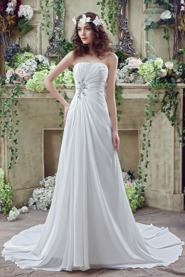 A-Line/Princess Chiffon Sweep Train Wedding Gown for Bride
